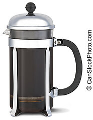 chrome cafetiere with coffee with clipping path