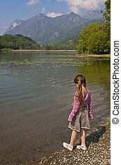 girl at tarn