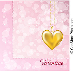 Gold locket on pink