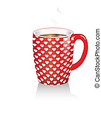 Coffee mug with hearts - A red coffee mug with white hearts....