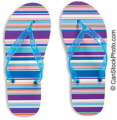 pair of stripey flip flops strings isolated on a white background with clipping path