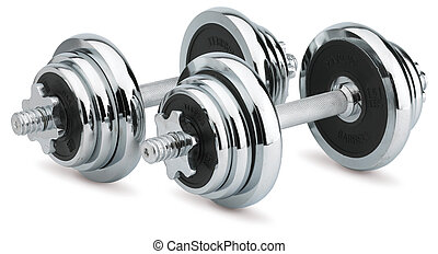 pair of chrome dumbells isolated on white with a clipping path