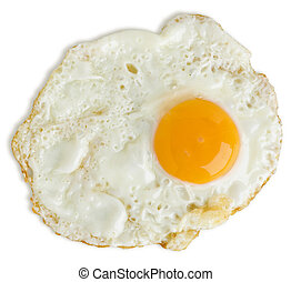 badly fried egg isolated on white with a clipping path
