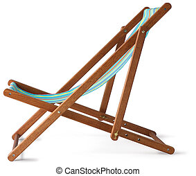 wooden deckchair isolated on white with clipping path