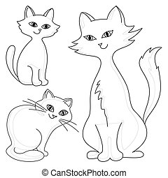 Cats, contours - Three kind cheerful domestic cats,...