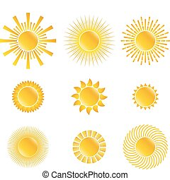 Vector Suns - Set of vector Suns on white background