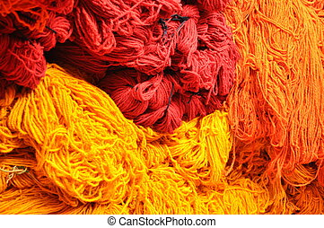 orange red yellow wool- morocco - orange red yellow dyed...