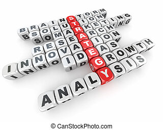 Conceptual image of strategy. Crossword fromblocks with...