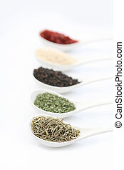 spice background - various spices on a white background...