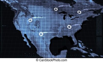 Digital Map Scan - Computer scanning a map of the world.