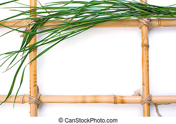Frame for pictures from bamboo and leaves