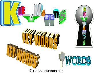 keywords set on white - text of keywords in 3d on white...