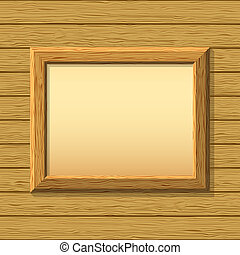 Wood frame on wall - empty wooden frameworks on a board wall...