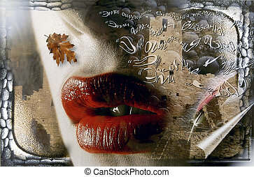 lips - Collage with large red lips