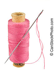 Sewing thread isolated on white background
