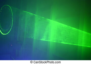 Party Lights - abstract green colored strobe laser light at...