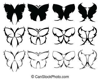 Butterfly tattoo designs - Set of butterfly designs inspired...