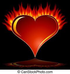 Flaming Heart - An image of a fiery flame heart on a black...