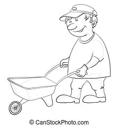 Man with wheelbarrow - Man workman rolls an empty...