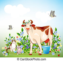 Country life Cat, kitten and cow