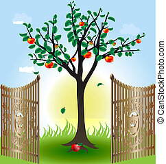 apple tree and gates