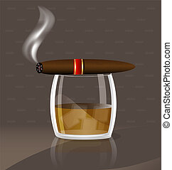 whiskey and cigar - aganst abstract background a large glass...