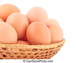 Fresh brown eggs. - Fresh brown eggs on white background.