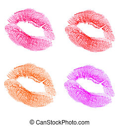 Lips - Womans kiss stamp on a white background