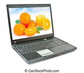 Laptop with fruit on screen