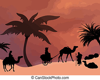 Oasis in sahara desert with camel carriage and bedouins on...