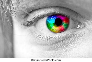 Colourful mans Eye close up