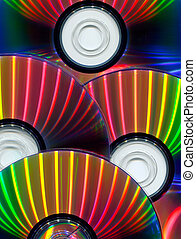 Close-up of CDs as background