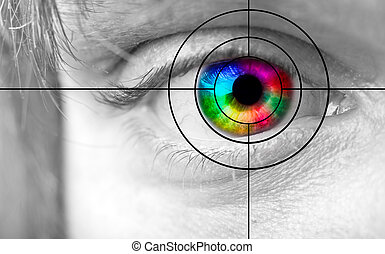 Colourful mans Eye and the target - Closeup of the colorful...