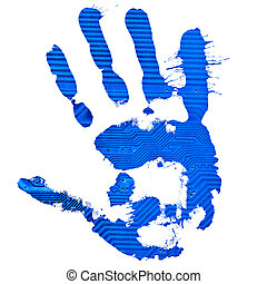 Handprint - Technological blue splatter handprint on white...