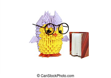 Module origami owl reading a book in the big black glasses