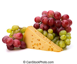Perfect bunch of grapes and cheese isolated on white...