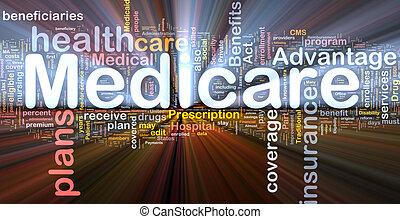Medicare, fundo, conceito, Glowing