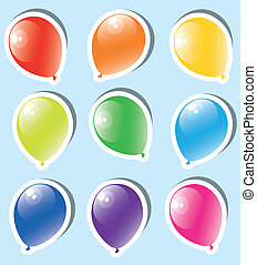 vector set of colorful paper balloons