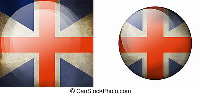Grunge british Flag of the round form