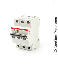 Automatic circuit breaker, isolated on a white background