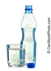 bottle and glass of water isolated on white