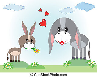 Mothers day ,two donkeys,vector