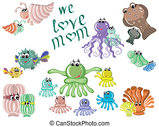 Mothers day,sea animals ,vector