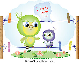Mothers day,birds,vector
