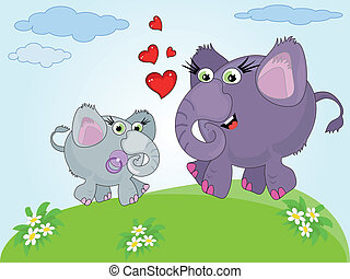 Mothers day,two elephants