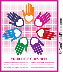 Colorful united loving hands. - Colorful united loving hands...