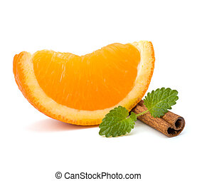 Orange fruit segment, cinnamon sticks and mint isolated on...