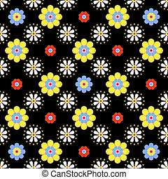 vector seamless floral pattern in bright saturated colors