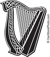 Harp icon - Black and white harp icon with Celtic knot...