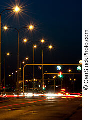 City Crossing in Night - Crossing - Moving Cars and Traffic...